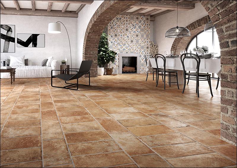 Mediterrán hangulat a konyhában rusztikus stílusú padlólappal