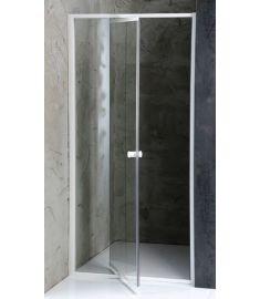 AQUALINE AMICO zuhanyajtó állítható 100-122x185 cm, fehér profil/transzparent üveg G100