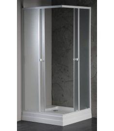 AQUALINE ALAIN Szögletes zuhanykabin 80x80x185 cm, BRICK üveg, fehér profil BTQ800