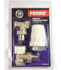 """Ferro Sarok radiátorszelep szett, termosztátfejjel, 1/2""""x1/2"""" ZTM08"""
