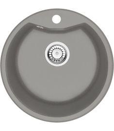 Deante FORTISSIMO gránit mosogató, szifonnal, leeresztővel + AJÁNDÉK, d48 cm, metál szürke, ZRSS803