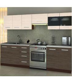 AMANDA konyhabútor, santana tölgy/priede arden/wenge/gránit színű, 260 cm HM0251