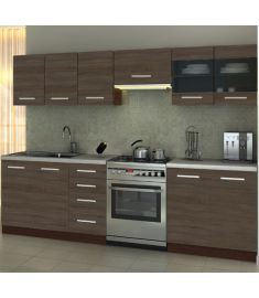 AMANDA konyhabútor, santana tölgy/wenge/gránit színű, 260 cm HM0250