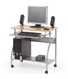 B-6 számítógépasztal, görgős, égerfa/ezüst színű, 80x50x76 cm HM0845