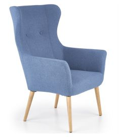 COTTO fotel, fa lábakkal, kék színű, 73x76x99x43 cm, HM1729
