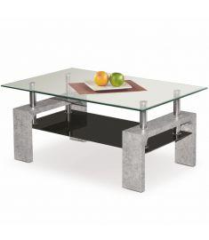 DIANA üveglapos dohányzóasztal, fekete/beton színű, 100x60x45 cm HM0388