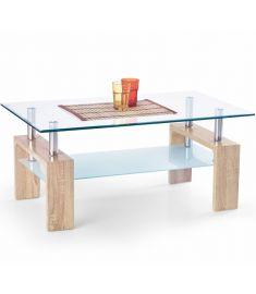 DIANA üveglapos dohányzóasztal, sonoma tölgy színű, 100x60x45 cm HM0392