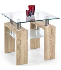 DIANA üveglapos dohányzóasztal, sonoma tölgy színű, 60x60x55 cm HM0379