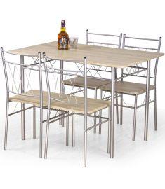 FAUST 4 személyes étkezőgarnitúra, sonoma tölgy/ezüst színű, 110x70x75 cm HM0113
