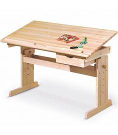 JULIA gyerek íróasztal, dönthető, állítható magasságú, fenyőfa színű, 109x55x63-96 cm HM0536
