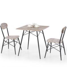KABIR 2 személyes étkezőgarnitúra, san remo tölgy/fekete színű, 70x70x75 cm, HM1448