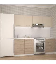 KATIA konyhabútor, világos bézs/fehér/san marino tölgy színű, 220 cm, HM1458