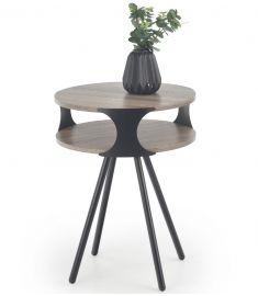 KIRBY kerek kisasztal, sötét sonoma tölgy/fekete színű, 45x60 cm, HM1490