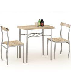 LANCE 2 személyes étkezőgarnitúra, sonoma tölgy/ezüst színű, 82x50x75 cm HM0116