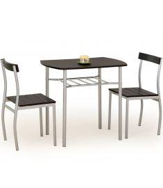 LANCE 2 személyes étkezőgarnitúra, wenge/ezüst színű, 82x50x75 cm HM0117