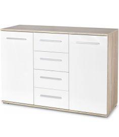 LIMA 2 ajtós, 4 fiókos komód, sonoma tölgy/fehér színű, 116x40x82 cm HM0267