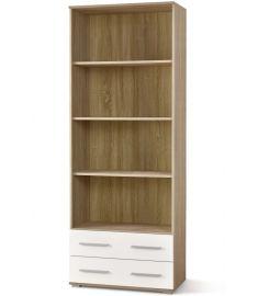 LIMA 2 fiókos, 4 polcos szekrény, sonoma tölgy/fehér színű, 77x40x200 cm HM0276