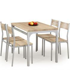 MALCOLM 4 személyes étkezőgarnitúra, sonoma tölgy/ezüst színű, 110x70x75 cm HM0118