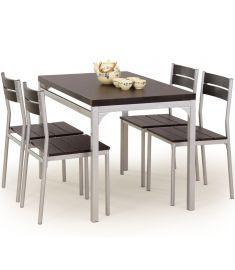 MALCOLM 4 személyes étkezőgarnitúra, wenge/ezüst színű, 110x70x75 cm HM0119