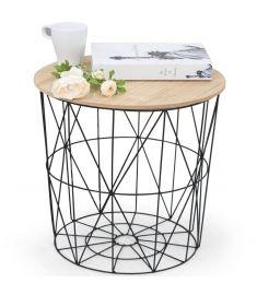 MARIFFA kerek kisasztal, fa/fekete színű, 42x41 cm, HM1709