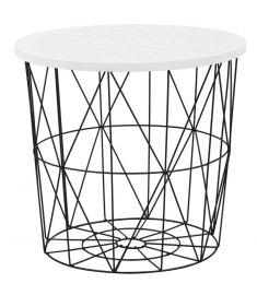 MARIFFA kerek kisasztal, fehér/fekete színű, 42x41 cm, HM1708