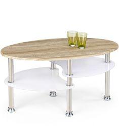 MEDEA dohányzóasztal, sonoma tölgy/rozsdamentes acél/fehér színű, 90x50x45 cm HM0448