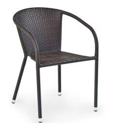 MIDAS kerti szék, rattan/acél, sötétbarna, 57x57x78x45 cm HM0839