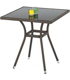 MOBIL kerti asztal, sötétbarna rattan, fekete üveglappal, 70x70x74 cm HM0840