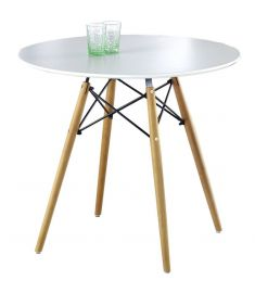 PROMETHEUS kerek étkezőasztal, matt fehér/fekete/bükkfa színű, 80x75 cm HM0075