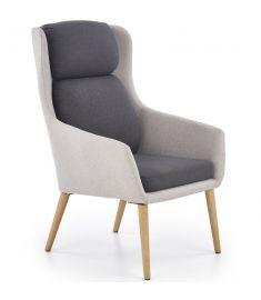 PURIO fotel, fa lábakkal, világosszürke/sötétszürke színű, 67x75x103x42 cm, HM1746