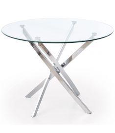 RAYMOND kerek étkezőasztal, üveg/krómozott fém, 100x73 cm HM0078