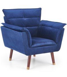 REZZO fotel, fa lábakkal, sötétkék/sötét dió/arany színű, 80x73x84x44 cm, HM1749