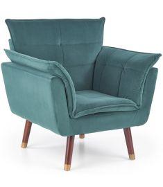 REZZO fotel, fa lábakkal, sötétzöld/sötét dió/arany színű, 80x73x84x44 cm, HM1748