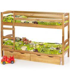 SAM fenyő emeletes ágy matraccal, fiókok nélkül, égerfa színű, 198x87x144 cm HM0552