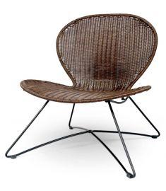 TROY kerti szék, barna rattan/fekete fém, 74x71x80 cm HM0842
