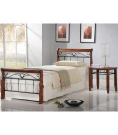 VERONICA 90 ágy, matrac nélkül, ágyráccsal, cseresznye/fekete színű, 96x217x92 cm HM0602