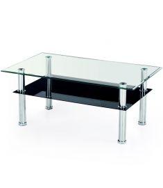 YOLANDA üveg dohányzóasztal, átlátszó és fekete üveg/rozsdamentes acél, 103x63x50 cm HM0511