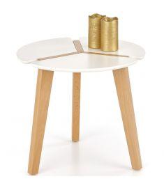 ZETA kerek kisasztal, fehér/bükkfa színű, 50x45 cm, HM1525
