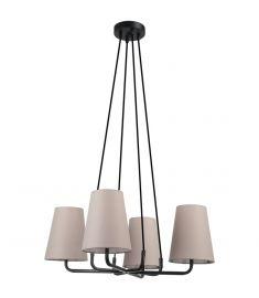 Italux PRIMO függőlámpa, d55cm, E14, 4x40W, fekete/világosszürke