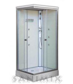 Sanimix szögletes hidromasszázs zuhanykabin, zuhanytálcával, 100x80x215 cm, fehér 22.8708