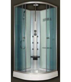 Sanimix íves hidromasszázs zuhanykabin, zuhanytálcával, 90x90x200 cm, 6 jet, ülőke 22.180