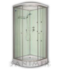 Sanimix íves hidromasszázs zuhanykabin, zuhanytálcával, 90x90x200 cm, fehér 22.1058 WHITE