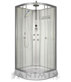 Sanimix íves hidromasszázs zuhanykabin, zuhanytálcával, 90x90x200 cm, fehér, 4 jet 22.181 WHITE
