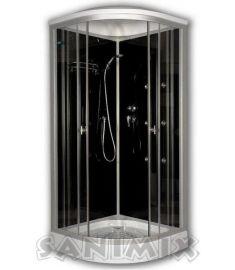 Sanimix íves hidromasszázs zuhanykabin, zuhanytálcával, 90x90x200 cm, fekete 22.1058 BLACK