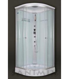 Sanimix íves hidromasszázs zuhanykabin, zuhanytálcával, 90x90x215 cm, tetővel, fehér hátfal 22.1032