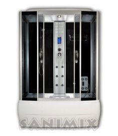 Sanimix kádas hidromasszázs gőzkabin, 85x170x215 cm, fekete 22.8011-170 STEAM