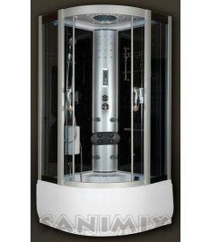 Sanimix mélytálcás hidromasszázs gőzkabin, 100x100x215 cm, kádtöltővel, fekete 22.56.5/3