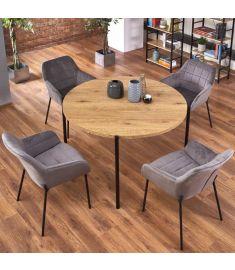 MORGAN kerek étkezőasztal, aranytölgy színű, fekete fém lábakkal, 120x76 cm, HM1813