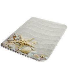Bisk SHELLS fürdőszobai habszőnyeg, 50x70 cm, tengeri csillag és kagyló mintás 05982