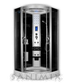 Sanimix íves hidromasszázs zuhanykabin, 100x100x215 cm, elektronikával 22.8318